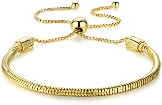 Authentic EvesCity 925 Silver Adjustable Yellow Gold Color Twist On/Off Silver Bracelet fits Pandora Beads Charms