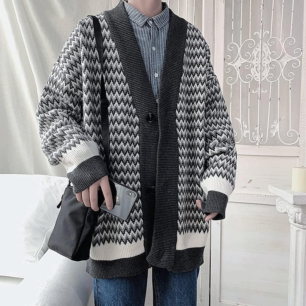 WPYYI Men Cardigan Autumn Retro Striped Students Loose Plus Size XXL Soft Preppy Style Streetwear (Color : Gray, Size : M Code)