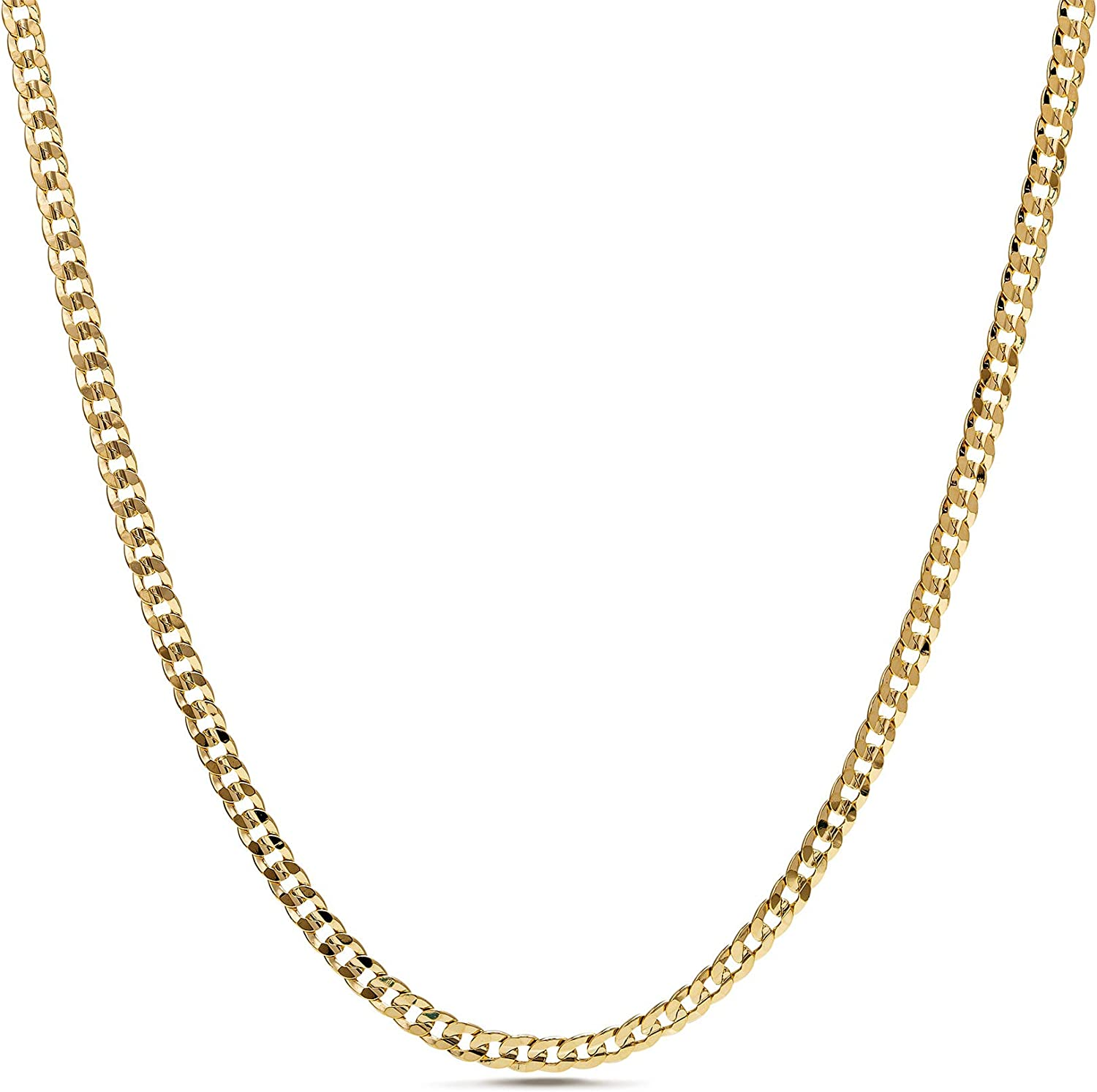 Nautica 1.2mm - 2.3mm Miami Cuban Chain Necklace for Men or Women in Yellow Gold Plated Brass