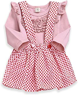 YOUNGER STAR Toddler Baby Girl Skirt Set Cotton Longsleeve Bodysuit and Ruffle Strap Suspender Dress Fall Clothes