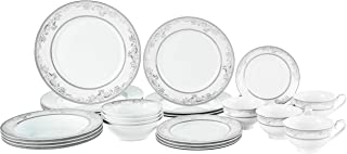 Lorren Home Trends 28 Piece 'Juliette' Bone China Dinnerware Set (Service for 4 People), Silver
