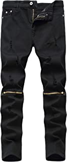 Rosiika Boy's Stretch Destroyed Ripped Distressed Fashion Skinny Slim Fit Jeans