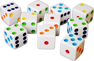 Hobby Monsters 10 D6 16mm White Dice with Multi-Colored Pips
