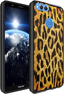 Huawei Honor 7X Case, Capsule-Case Hybrid Slim Hard Back Shield Case with Fused TPU Edge Bumper (Black) for Huawei Honor 7X - (Leopard)