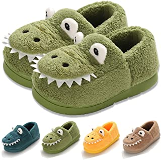 COSANKIM Baby Toddler Boys Girls House Slipper Non Skid Faux Fur Lining Cartoon Dinosaur Indoor Bedroom Kids Shoes