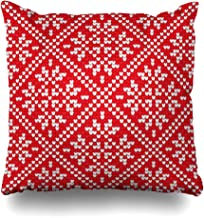 InterestDecor Throw Pillow Covers Pillowcase Repeatable Red Christmas Scandinavian Pattern Nordic Ethnic Knitting Abstract Aboriginal Craft Zippered Square Size 20 x 20 Inches Cushion Case