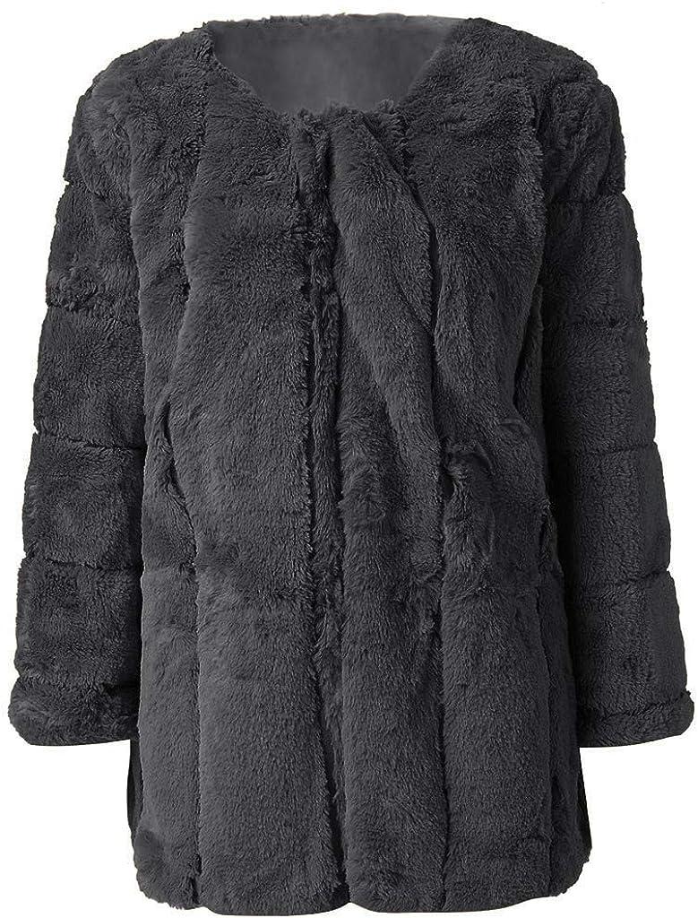 Plus Size Faux Fur Coat Long Sleeve Winter Warm Fluffy Parka Jacket Lapel Fox Luxury Outerwear Overcoat - Limsea