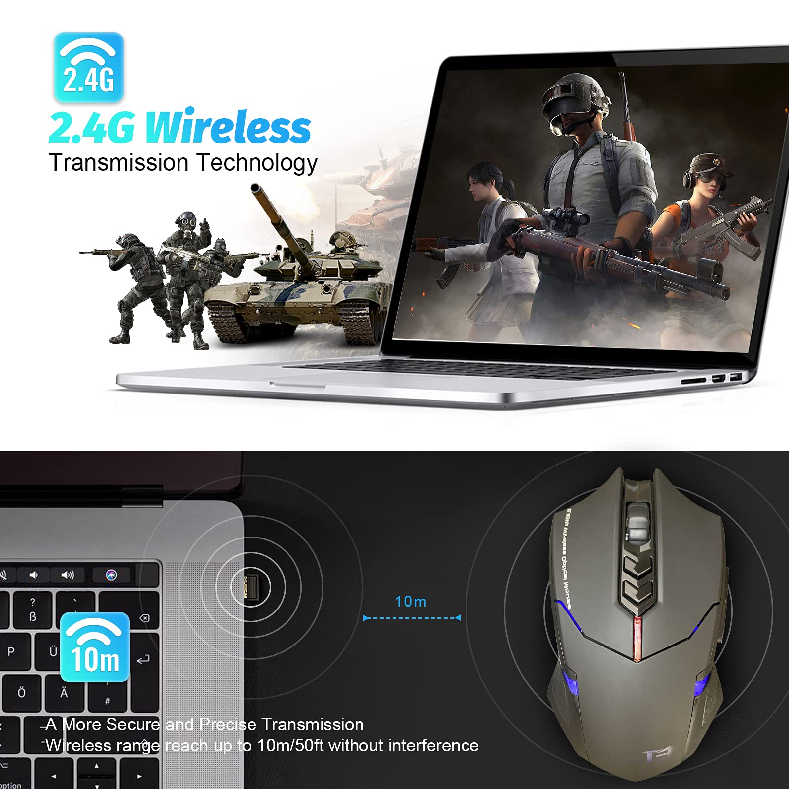 SKY TOUCH Wireless Gaming Mouse with Unique Silent Click, Ergonomic Grips, 2400 DPI, 2 Programmable Side Buttons, Breathing Backlit, 7-Button Design- Black