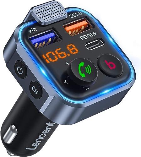 LENCENT Transmetteur FM Bluetooth Voiture, Allume Cigare Bluetooth 5.0 Émetteur Radio, Chargeur Rapide de Voiture PD ...
