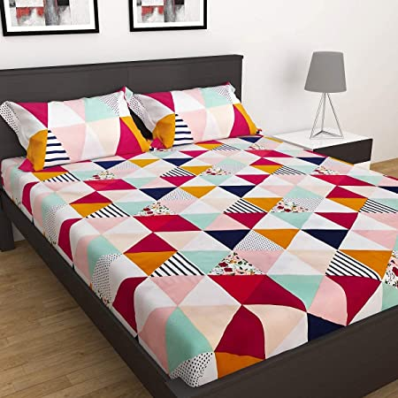 Just Muralidhar & Sons Polly Cotton Double Bedsheet with 2 Pillow Covers for Bed Room, Home, Hotel, (Multi color 25)