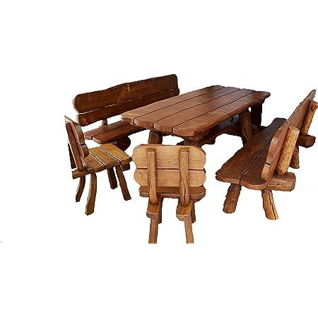 Amazon De Rustikale Gartengarnitur Aus Massivholz Gartenmöbel Aus Tannen Und Eichenholz Sitzplätze Ca 8 Personen Tisch 2 Bänke 2 Stühle