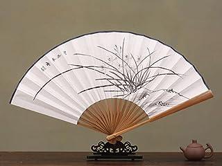Fan 8 Inch Hand-Painted Calligraphy White Paper Fan Wind Unisex Universal Folding Fan Ancient Style Daily Craft Gift Fan o...