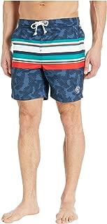 Men's Stripe Elastic Waist Volley Swim Short