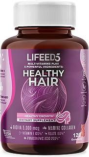 5 in 1 Hair Gummies - 2 month supply: Biotin 5000mcg, Marine Collagen, Vitamin E, Folic Acid, Pantothenic Acid | Hair Vita...