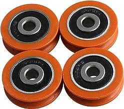 BQLZR 29MM Buiten Dia Oranje Nylon U-Type Groove Track Lager Katrol Wiel voor Deuren en Windows Pack van 4