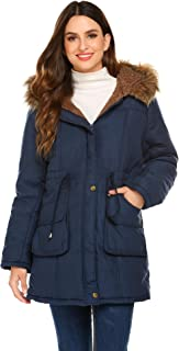 Women's Hooded Warm Winter Faux Fur Lined Parkas Long Coats Jacket Overcoat Fleece Outwear with Drawstring