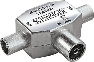 SCHWAIGER  ASV42 531  Aufsteckverteiler 2 fach TV für Kabel  und Antennenanlagen | 1x IEC Buchse > 2X IEC Stecker | silber