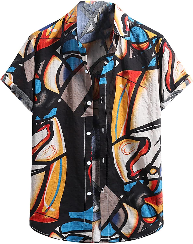Men's Cotton and Linen Shirts Casual Button Down T Shirt Summer Short Sleeve Turn-Down Collar Tops Beach Tops