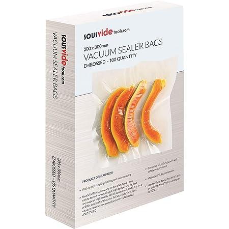 SousVideTools 200 x 300 mm sacs sous vide (boîte de 100)   Pochettes d'économie d'aliments en relief conçues pour la cuisson sous vide et le stockage des aliments   Sans BPA   Résiste à la congélation, à l'ébullition et au micro-ondes