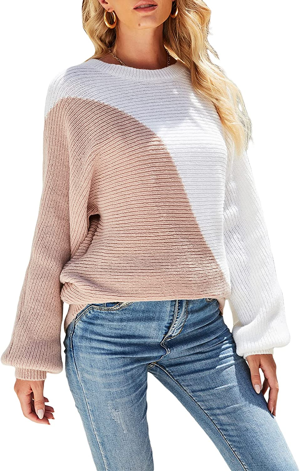 Women's Patchwork Sweater Long Sleeves Save money Neck Loose Round Knitted supreme