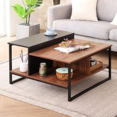 HOMOOI Industrial Square Coffee Table with Storage Shelves for Living Room, Modern Wood Metal Center Table with 4 Open Large