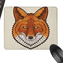 Keyboard Mouse Pad Fox Wild Fox Portrait in Mosaic Inspired Style Furry Animal Smart Eyes Mascot Icon with Stitched Edge,9.8