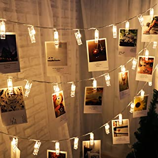 SuperDecor 40 Led Christmas Photo Clips Lights Battery Operated String Lights Patio Lights for Outdoor, Indoor, Xmas, Bedroom, Party, College Dorm Room, Ideal Gift Warm White 16.4 Feet, Warm White