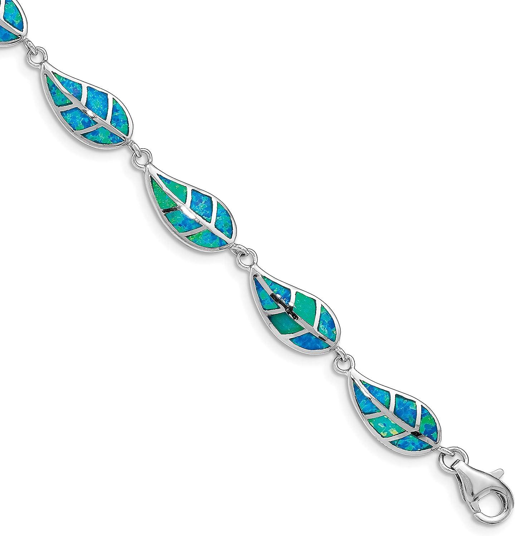 Sterling Silver Rhodium-plated Genuine Created Blue Inlay Leaf Max 47% OFF Opal Brac