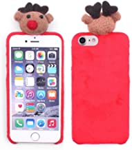 iProtect Apple iPhone 7 Plus and iPhone 8 Plus Super Soft Luxury Winter Cover - Holiday Protective Case with Cute 3D Fluffy Reindeer Motif in Red