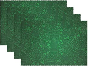 ALAZA Abstract Green Shamrock St. Patrick's Day Placemats Heat-resistant Washable Table Mats 12 X 18 Inch Placemats for Family Kitchen Hotel Coffee Shop Dinning Restaurant Set of 6
