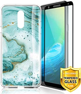 TJS Phone Case for LG K10 2018/K30/Premier Pro LTE/Harmony 2/Phoenix Plus/Xpression Plus, with [Tempered Glass Screen Protector] Slim TPU Matte Color Marble Transparent Clear Soft Skin (Green)