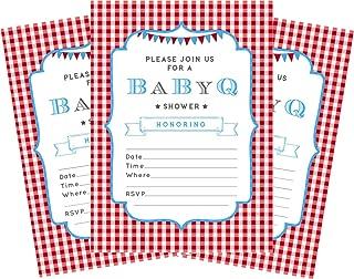 BBQ Blue Baby Boy 5x7 Baby Shower Invitations - 24 Invites and 24 Envelopes