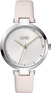HUGO by Hugo Boss Women's #HOPE Stainless Steel Quartz Watch with Leather Calfskin Strap, Blush, 8 (Model: 1540074)