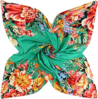 XIANGSHAN-SCARVES Women new colorful spotted flower 130cm scarves retro headscarf holiday sunscreen scarf shawl (Color : 01)