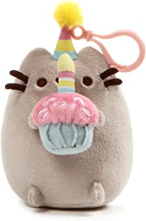 GUND Pusheen Snackable Birthday Cupcake Cat Plush Stuffed Animal Backpack Clip, Gray, 5