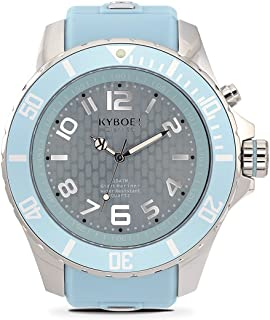 KYBOE! Power Stainless Steel Quartz Watch with Silicone Strap, Blue, 26 (Model: KY.55-043.15)