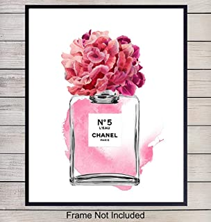 Chanel No 5 Perfume Home Decor Art Print - Wall Art Poster - Unique Room Decorations for Bedroom, Bathroom, Girls or Teens Room - Gift for Fashion Design, Fashionista, Coco Fans, 8x10 Photo Unframed