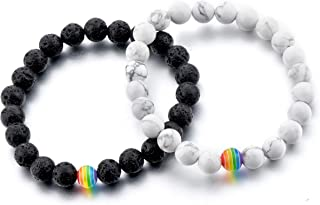 City Oak LGBT Relationship Bracelet | 2 Pieces | White Howlite, Black Matte Agate, Rainbow Resin | Oil Diffuser Beads | Gay Couples Strong Cord | Handmade | Love is Colorful