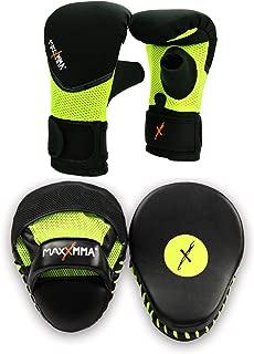 MaxxMMA Boxing MMA Training Kit - Pro Punch Mitts + Washable Neoprene Bag Gloves