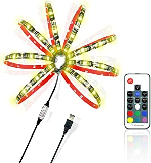 Achivy USB LED Strip Light-118 inches/3M 20 Colors RGB 5050 USB Powered Ambient Background Lighting with DC5V USB LED Controller Cable and 17 Key RF Remote for HDTV and Monitors