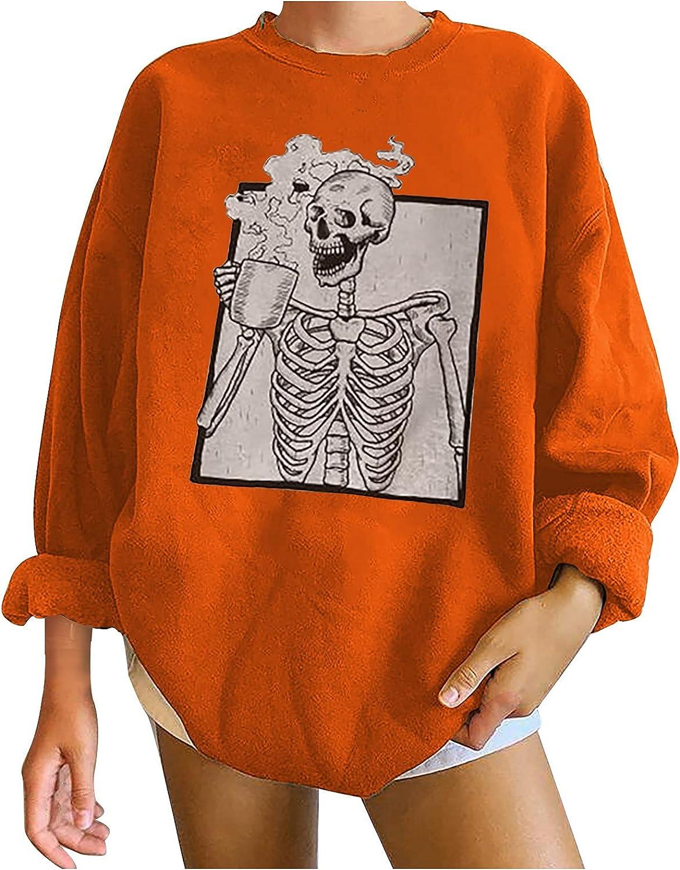 Oversized Womens Baggy Halloween Printted Sweatshirt Pullover Casual Funny Crewneck Long Sleeve Sweatshirt Tops Blouse