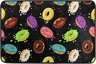 Mydaily Colored Donuts Cartoon Doormat 15.7 x 23.6 inch, Living Room Bedroom Kitchen Bathroom Decorative Lightweight Foam Printed Rug