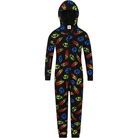Boys Gamer Neon Gaming Sleepsuit All In One Cotton Onesie Style