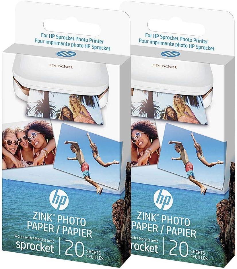 HP - Zink Photo paper - Papel adhesivo original para HP Sprocket, 40 hojas (2 paquetes)