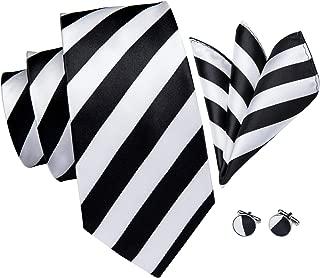 Striped Ties - Hi-Tie Classic Tie Handkerchief Cufflinks Set for Men Gift Box