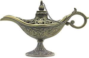 AVESON Classic Vintage Hollow Magic Genie Light Costume Lamp Home Table Decoration & Gift, Small Size, Bronze