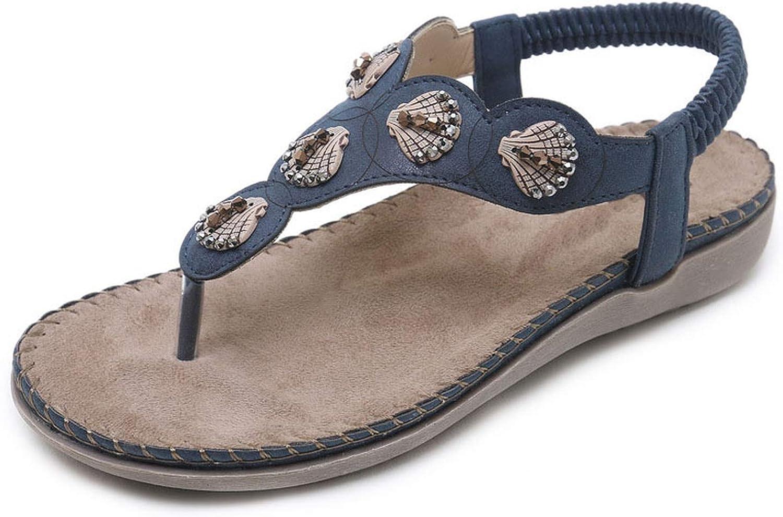 Shine-shine Bohemian YLE Ring Beads Flat Flip Flops Sandals Ethnic YLE Big Size 35-42