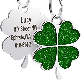 Didog Custom ID pet Tag, Glitter Clover Heart Print Personalized Tag for Small Medium Large Dogs and Cats