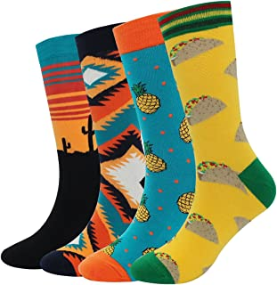 Men's Cool Colorful Casual Socks - Novelty Funny Casual Combed Cotton Crew Dress Socks Gift Pack
