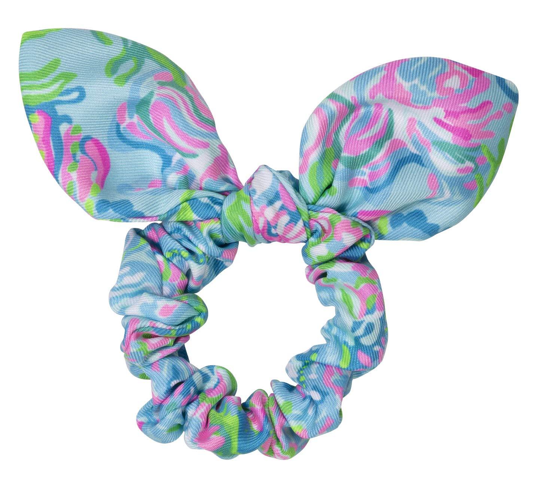 Lilly Pulitzer Women's Blue/Pink Hair Tie Scrunchie with Bow Detail, Aqua La Vista